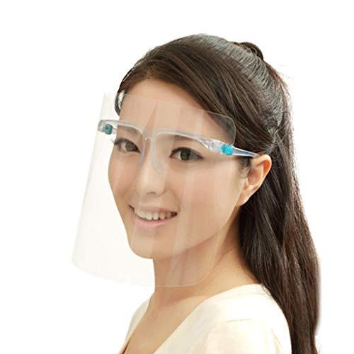 Rosennie 2 Stück Visier Gesichtsschutz Brille,Sicherheit Face Shields Schutzschild Schutzvisier mit Klar Schutzbrille Mundschutz für Brillenträger für Arzt Outdoor Arbeit Küche