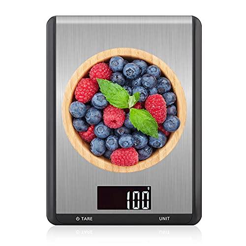 FOGARI Báscula de cocina digital, báscula de cocina inteligente digital con función Tare, báscula electrónica para la casa, máx. 10 kg con 7 tipos de unidades, fácil de cambiar