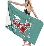 JXZIARON Las Toallas de baño de Microfibra súper Suaves se utilizan para baños en Interiores, Piscinas de Aguas Termales y SPA de hoteles,Drum Set Toalla súper Absorbente roja para Gimnasio