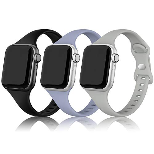 SWEES Sport Band Compatible with iWatch 38mm 40mm, 3 Packs Narrow Soft Silicone Slim Thin Small Replacement Wristband Compatible for iWatch Series 6 5 4 3 2 1 SE Sport Edition Women Men