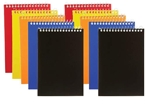 1InTheOffice Wirebound Memo Pads 4x6, College, Assorted, 50 Sheets/Pad, (10)