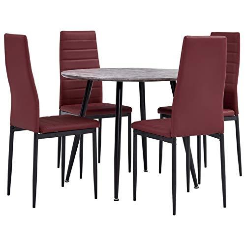 Tidyard Conjunto de Mesa sillas,Mesa Salón y Sillas,Muebles de Jardin 5# Juego de Comedor 5 Piezas Cuero sintético Rojo Burdeos