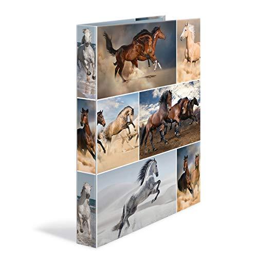 HERMA Ringband DIN A4 dieren, 35 mm breed, smalle bedrukte motief, ringbandmap, van stevig karton, 1 ringbandmap 2 ringen 2 Ringe paarden