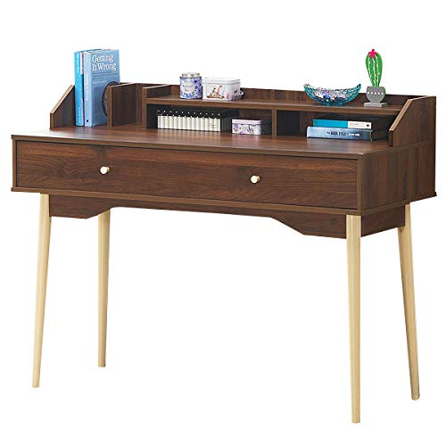 Giantex Writing Desk with Drawer, Computer Wooden Desk 100% Rubber Wood Legs, Sufficient Storage Space w/Large Drawer & Wide Table Top Writing Computer Desk for Bedroom Apartment Small Space (Walnut)