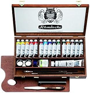Schmincke Künstlerfarben, Norma® Professional Ölfarben, Malkasten, Holzkasten mit 15 x 35ml Tuben + 120ml Weiß + Zubehör