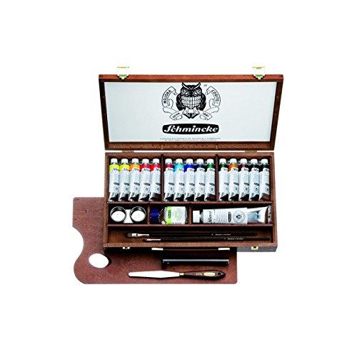 Schmincke Künstlerfarben, Norma Professional Ölfarben, Malkasten, Holzkasten mit 15 x 35ml Tuben + 120ml Weiß + Zubehör