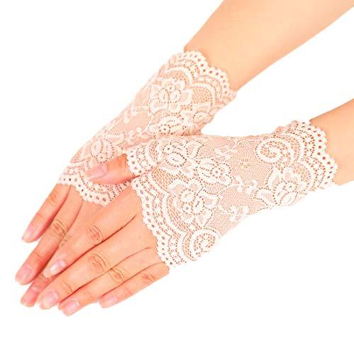 Nanxson Damen Fingerlose Spitzen Handschuhe Braut Spitzen Handschuhe für Hochzeitsfeier Halloween ST0084 (Beige, eine Size