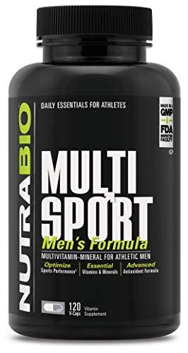 NutraBio Multisport for Men - Mens MultiVitamin - 33 Vitamins, Minerals, Micronutrients - Rich in Antioxidants - Supports Peak Athletic Performance, Energy, Metabolism (120 Vegetable Capsules)