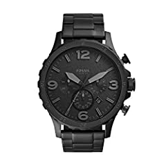 Case size: 50mm; Band size: 24mm; quartz movement with 3-hand analog display; mineral crystal face; imported Black plated stainless steel case; black dial with date window and gunmetal tone Arabic numerals Black plated stainless steel bracelet with d...