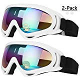 COOLOO Ski Goggles, Pack of 2, Skate Glasses for Kids, Boys & Girls, Youth, Men & Women, with Protection, Wind Resistance, Anti-Glare Lenses (White)