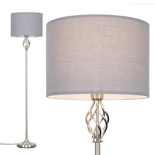 Traditional Style Satin Nickel Barley Twist Floor Lamp with a Grey Cylinder Light Shade