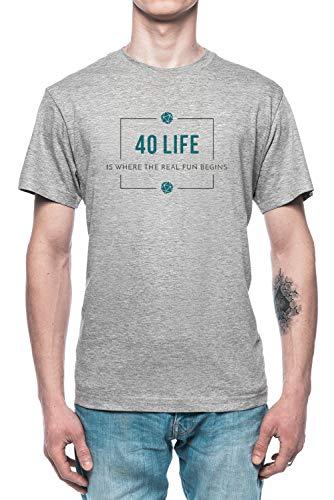 40 Life Commander - Magic The Gathering Herren T-Shirt Tee Grau Men's Grey T-Shirt