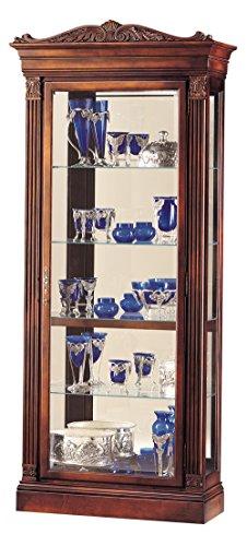 Howard Miller Blackburn Curio Cabinet 543-028 – Embassy Cherry Finish Home Decor, Four Glass Shelves, Five Level Display Case, Locking Front Door & Halogen Light