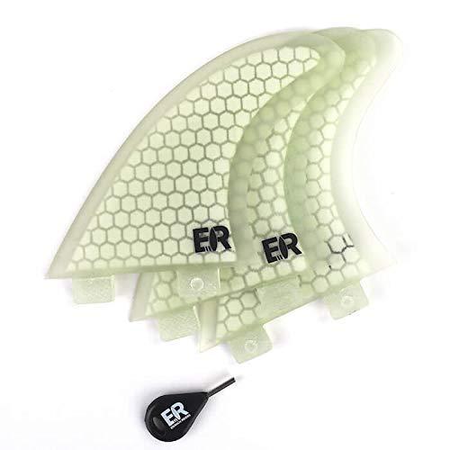 Eisbach Riders - FCS Surfboard Fiberglas Honeycomb Thruster Fin Set with Fin Key - Quillas para Tablas de Surf - Size Small/Medium/Large (White)