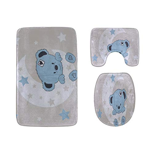 Elegant Bathroom Rugs and Mats Sets Baby Bear Teddy Fashion Cartoon 3-Piece Soft Shower Bath Rugs Contour Mat and Toilet Seat Lid Cover Flannel Best Bathroom Mat Set