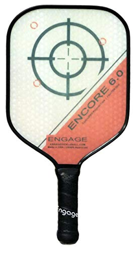 EP Engage Encore 6.0 Pickleball Paddle, Standard Weight 7.9-8.3 oz, Thick Core for Control & Feel, Built for Power & Sweet Spot – New for 2020 (4 inch Grip, Red)