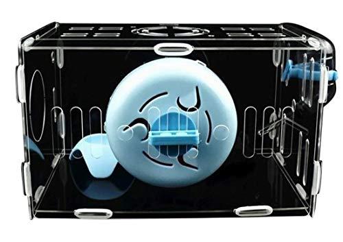 Plus Nao(プラスナオ) ハムスター用透明ケージセット 全面透明 ハムスター飼育キット ハムスター飼育セット ケージ 給水器 えさ皿 回し車 4 ブルー 小