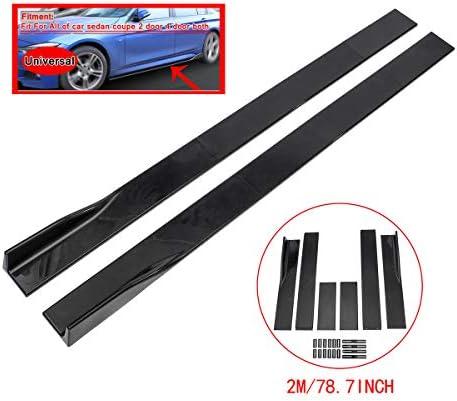 ZEEOS Universal PP Black Side Skirts Rocker Extension Panel Splitter Lip For Mitsubishi,Subaru,VW,Mazda,Mustang,etc.Length 2M/78.7inch