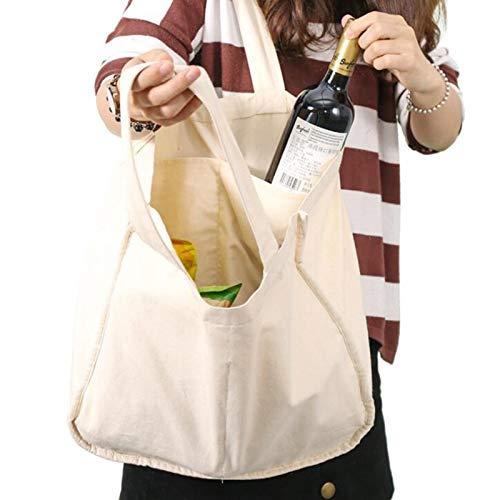 GSDJU mochila, duradero, viaje, lona, moda, equipaje, 3 bolsas de lona con mangas de botella de tela de algodón orgánico, lavables y ecológicas