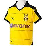 PUMA Kinder Trikot BVB Home Replica Shirt with Sponsor, Cyber Yellow/Black, XL (Kinder), 164, 748000 01