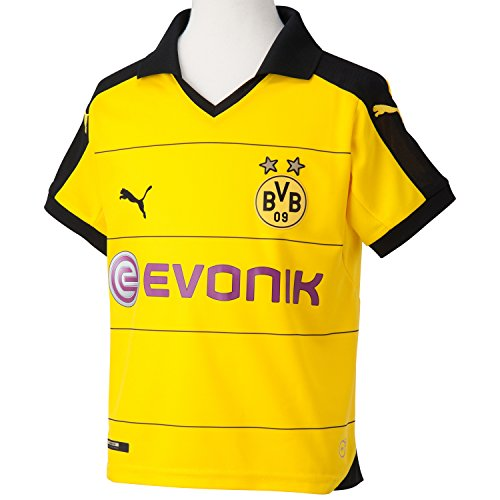 PUMA Kinder Trikot BVB Home Replica Shirt with Sponsor, Cyber Yellow/Black, M (Kinder), 140, 748000 01