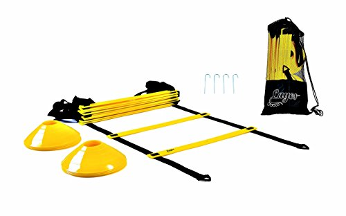 Lagos Athletic Agility ladder by workout ladder + 10 cones + 4 metal hooks + carry bag   footwork set training kit, Speed ladder for FOOTBALL SOCCER BASKETBALL equipment   BONUS - FREE EBOOK DEAL!!