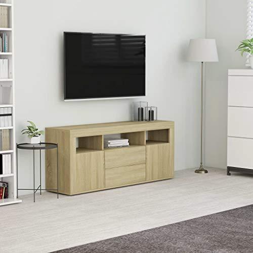 Ausla Mueble bajo para TV, Mesa de Televisión Moderno con 2 Cajones, 2 Puertas y 3 Compartimentos Abiertos, Color Roble, 120 x 30 x 50 cm