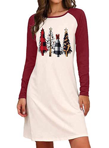 Vestido de túnica de cuello redondo con estampado de árbol de Navidad para mujer