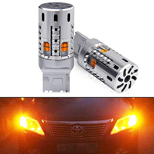 OPP ULITE 7440 Led Bulbs Amber, Error Free Canbus Built In Resistor Turn Signal Light 7444NA T20 7441 WY21W W21W 12V 360 Luminous 20 Led 2PC Pack Led Bulb (20 SMD 7440 Amber)
