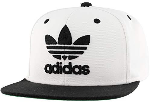 adidas Originals Men's Trefoil Chain Flatbrim Snapback Cap, White/Black, ONE SIZE