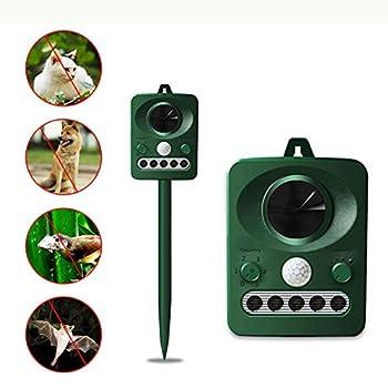 POOPFIY Ultra Sonic Animal Chaser Repeller Outdoor Repeller Animal Repeller Motion Sensor Flash Light Dog Cat Raccoon Rabbit Animal Dispeller
