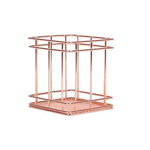 Chris Wang ovalado soporte para bolígrafos, contenedor de pluma de acero inoxidable, oro rosa malla Orgnaiser, color oro rosa Square: Amazon.es: Oficina y papelería