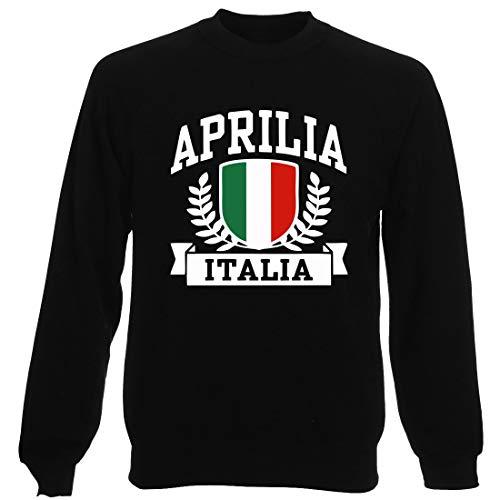 T-Shirtshock Rundhals-Sweatshirt fur Mann Schwarz TSTEM0264 Aprilia Italia