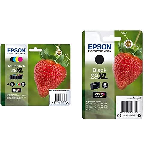 Epson 29 Xl Serie Fragola Cartuccia Originale, Multipack, Xl, 4 Colori, Con Dash Replenishment Ready & C13T29914022 Inchiostro, Nero