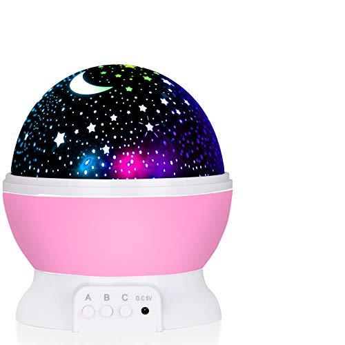 ASANMU LED Lámparas Proyector Infantiles, 360° Rotación Proyector Estrellas Bebés 12 Modos Proyector de Estrellas Luz de Nocturna para Niños, Luces Decorativas Habitacion para Día de los Reyes -Rosado