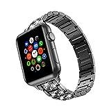 TOWOND Cinturini per orologio in metallo inossidabile per Apple Watch 40mm 38mm Uomo Donna, cinturino Bling Cinturino per orologio per iWatch Series 6 SE 5 4 3 2 1 Nero, 38/40mm