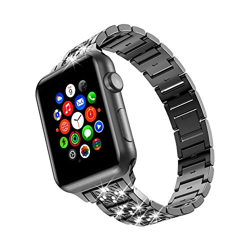 TOWOND Correa Compatible con Apple Watch 6/SE/5/4/3/2/1 Correa 38mm 40mm de Acero Inoxidable Reemplazo de Banda Compatible con iWatch Todos los Modelos Negro, 38/40mm