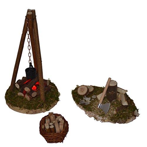 Feuerstelle Dreibein mit Beleuchtung + Hackstock + Holzkorb für Krippe Weihnachtskrippe Zubehör
