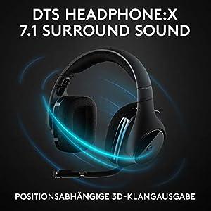 Logitech G533 kabelloses Gaming-Headset, 7.1 Surround Sound, DTS Headphone:X, 40mm Treiber, 2.4 GHz Wireless, Noise-Cancelling Mikrofon, Wireless Verbindung, 15-Stunden Akkulaufzeit, PC/Mac, Schwarz