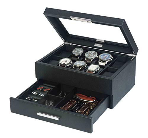 Lifomenz Co Leather Watch Box with Drawer for Men Watch Jewelry Box Organizer,Watch Display Case Catchall Tray for Men Accessories Organizer,Watch Storage with Large Watch Holder
