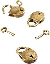 Set van 3 antieke bronzen gecoate vintage hangslot-juwelenkistjes in Chinese stijl. Notebook Lock bagageriem hangslot met ...