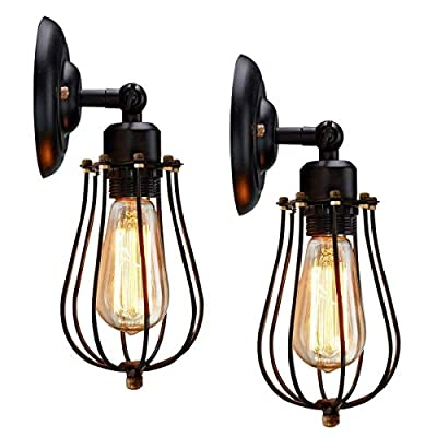 Wire Cage Wall Sconce, KINGSO 2 pack Vintage Wall Lamp Cage Industrial Metal Wall Light Wire Cage with 240° Adjustable Lighting Fixture(No Bulb)