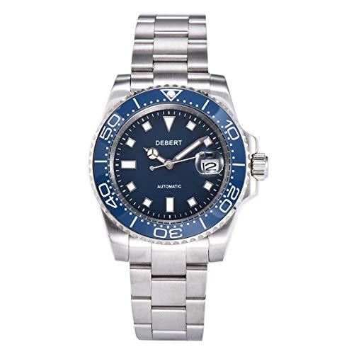 40mm DEBERT Blue dial Sapphire Crystal Ceramics Bezel Date Mechanical Automatic Mens Watch