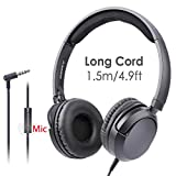 Avantree Superb Sound Wired On Ear Headphones with Microphone, 1.5M / 4.9FT Long Cord with Mic for Adults, Students, Kids, Comfortable Headsets for Computer, Laptop, Tablet, Phone - 026 Black