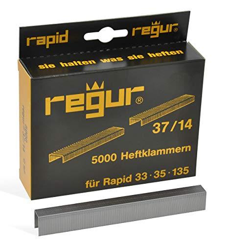 REGUR Type 37 gegalvaniseerde clips met fijne draad - 5.000 stuks in lengte 37/14 mm - nietjes voor het bevestigen van stoffen, leer, textiel en voor handwerk en decoratie
