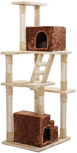 Qazxsw Kratzbaum, Cat Tower Cat Condo Treppenhaus Box Cat Climbing Frame Mehrschichtige Plattform Rechteckiger Katzenstreu Fun Climbing Ladder Verschleißfest und Kratzfest