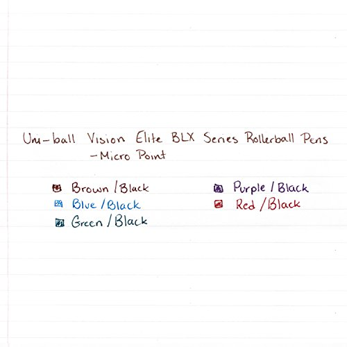 uni-ball Vision Elite BLX Series Stick Rollerball Pens, Micro Point, Green/Black Ink, 12 Count Photo #4
