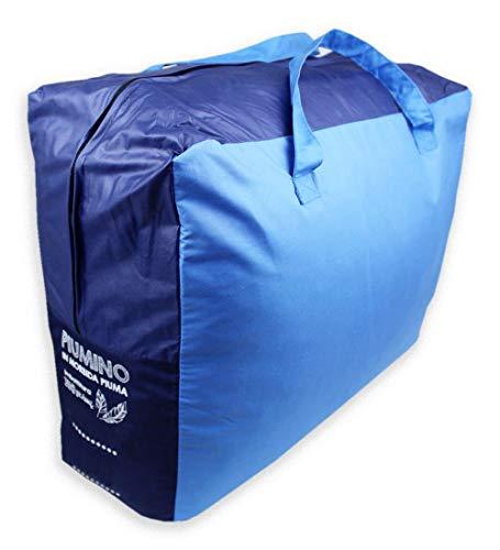 Tata Home Piumino Double Face da 350 gr/mq Invernale in 90% Piuma d' Oca e 10% Piumino Misura Letto Singolo Una Piazza cm 155x200 Colore Blu Azzurro