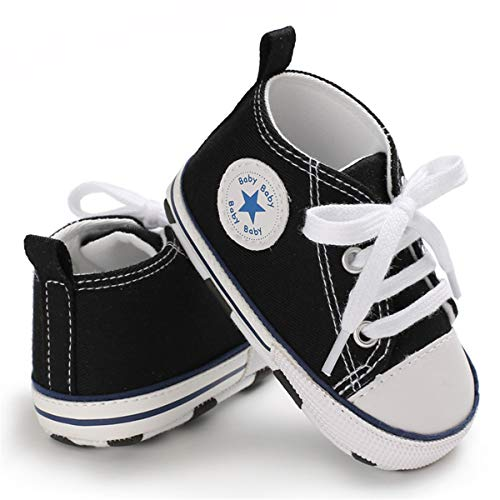 Sakuracan Baby Shoes Boys Girls Toddler High-Top Ankle Canvas Sneakers Soft Sole Newborn Infant First Walkers Crib Shoes( 0-6 Months Infant,A-Black
