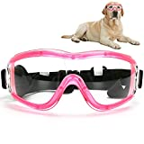 Flantor Dog Sunglasses, Windproof Pet Glasses Dog Goggles for UV Protection & Eyewear Protection with Adjustable Strap for Medium or Large Dogs and Cats (Pink Frame + Clear Lens)